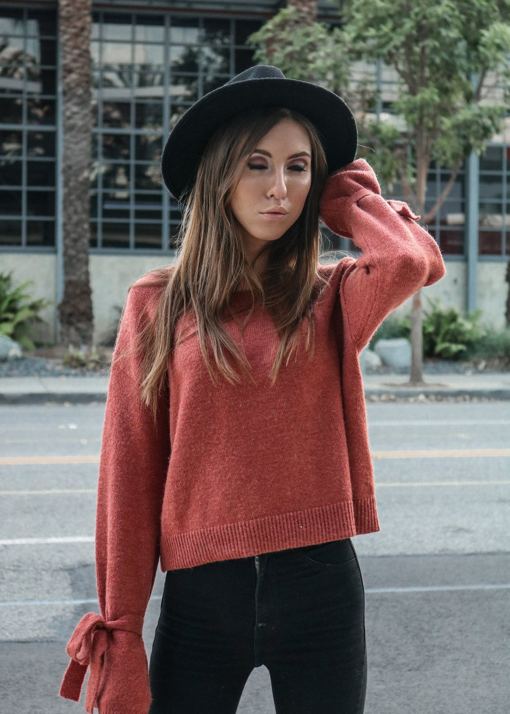 The Hungarian Brunette Burnt orange sweater statement sleeves (16 of 17).jpg