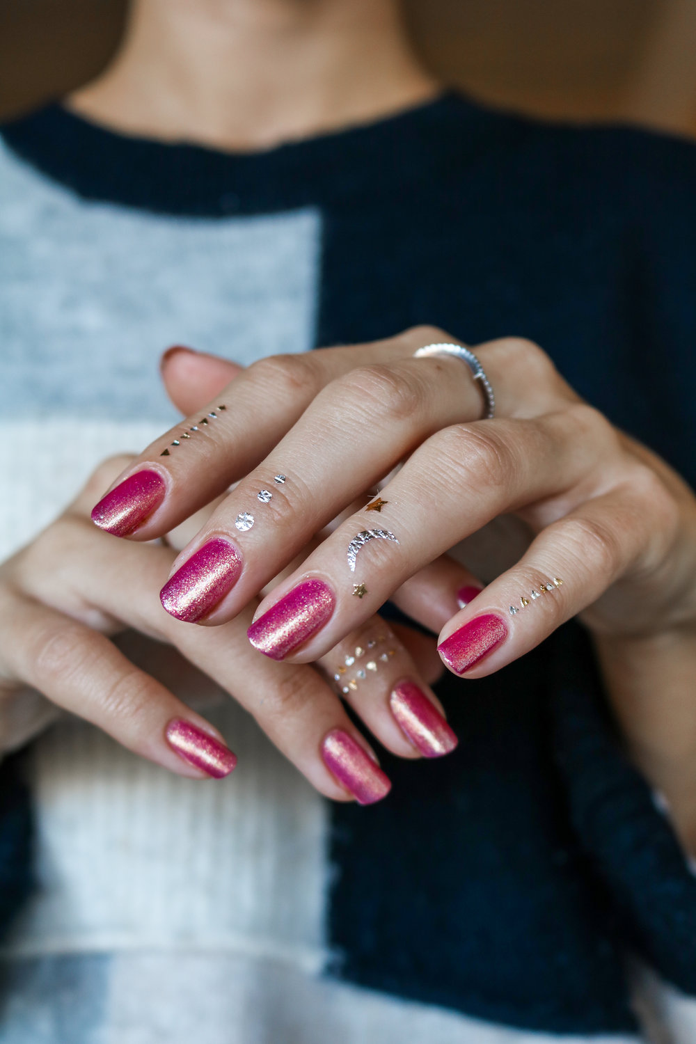 The Hungarian Brunette Urban Outfitter nail polish in Damsel - sparkly pink with gold undertones (4 of 6).jpg