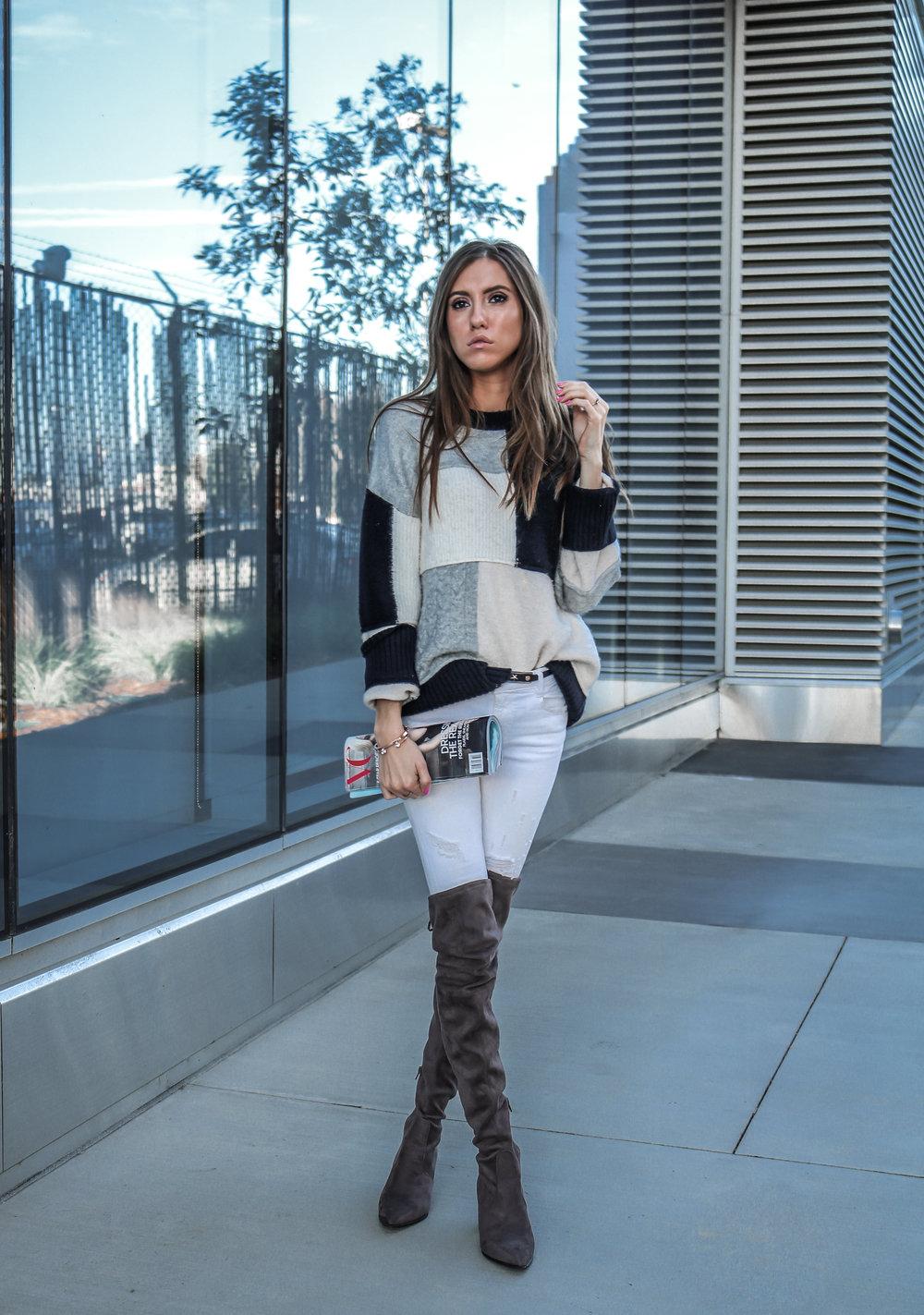 The Hungarian Brunette colourblock sweater, white jeans, otk boots (1 of 13).jpg