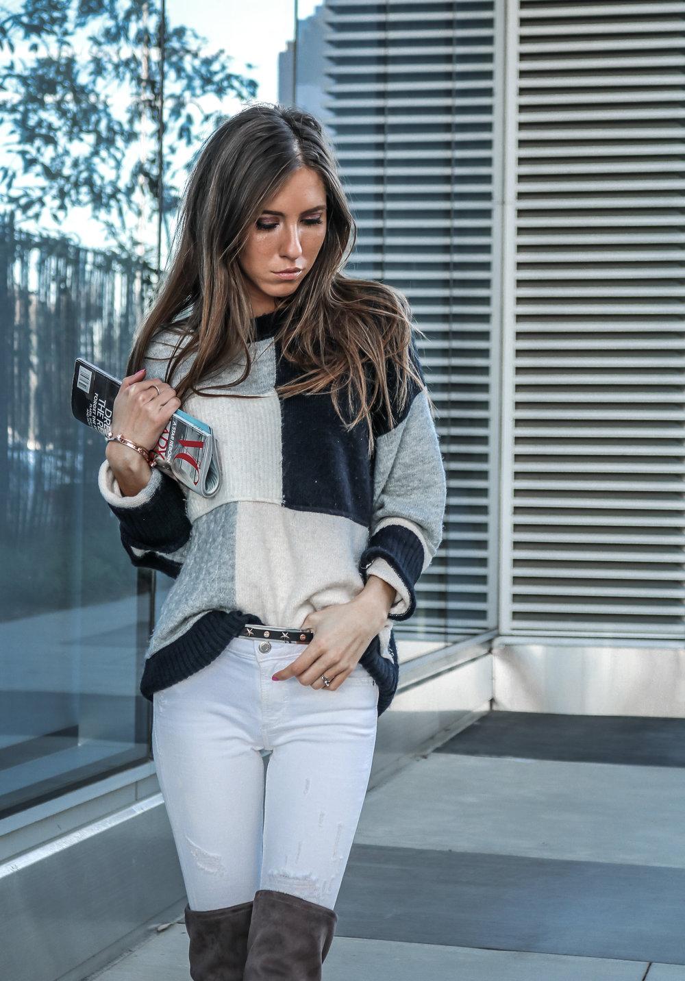 The Hungarian Brunette colourblock sweater, white jeans, otk boots (4 of 13).jpg