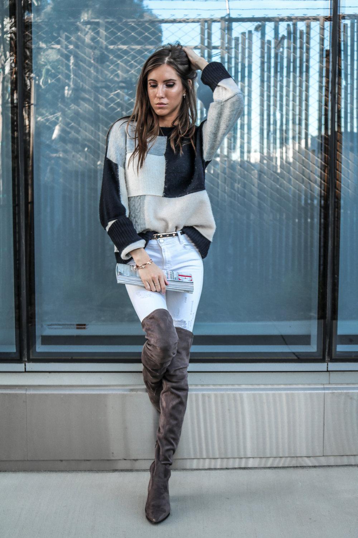 The Hungarian Brunette colourblock sweater, white jeans, otk boots (7 of 13).jpg