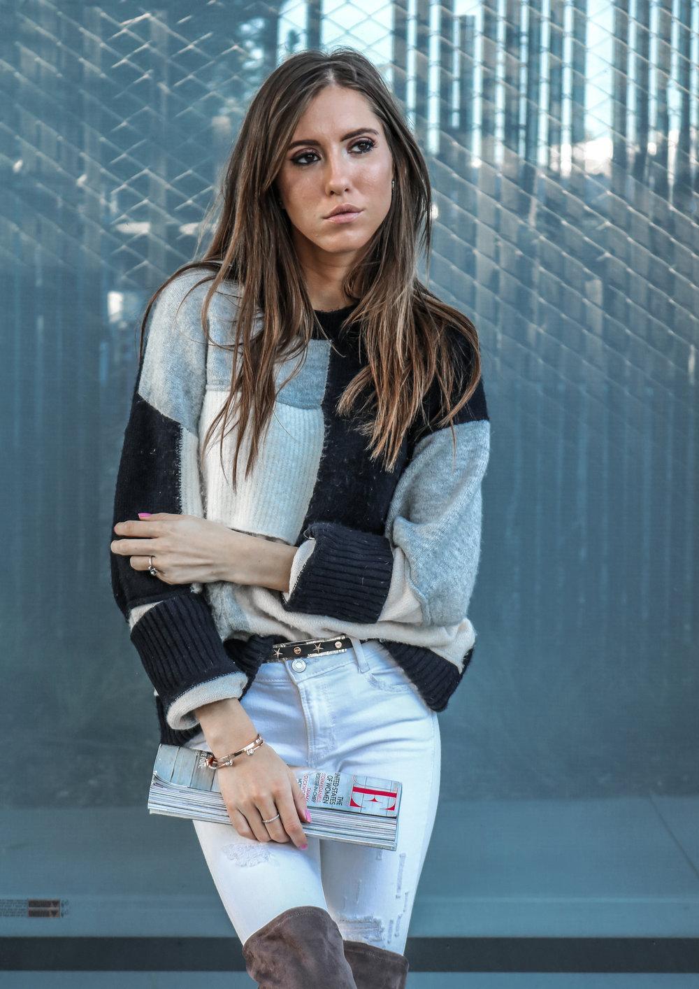 The Hungarian Brunette colourblock sweater, white jeans, otk boots (9 of 13).jpg