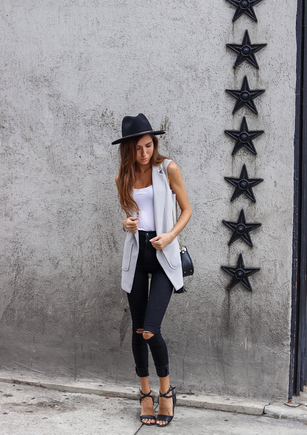 The Hungarian Brunette Outfit Inspo - OOTD sleeveless vest  outfit