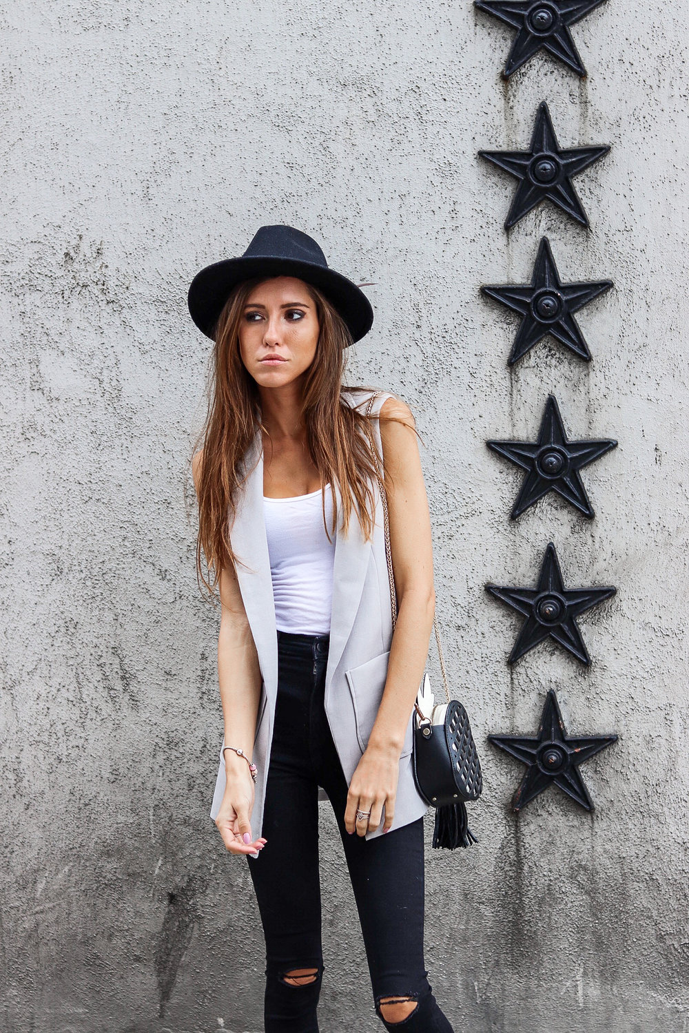 The Hungarian Brunette Outfit Inspo - OOTD sleeveless blazer outfit