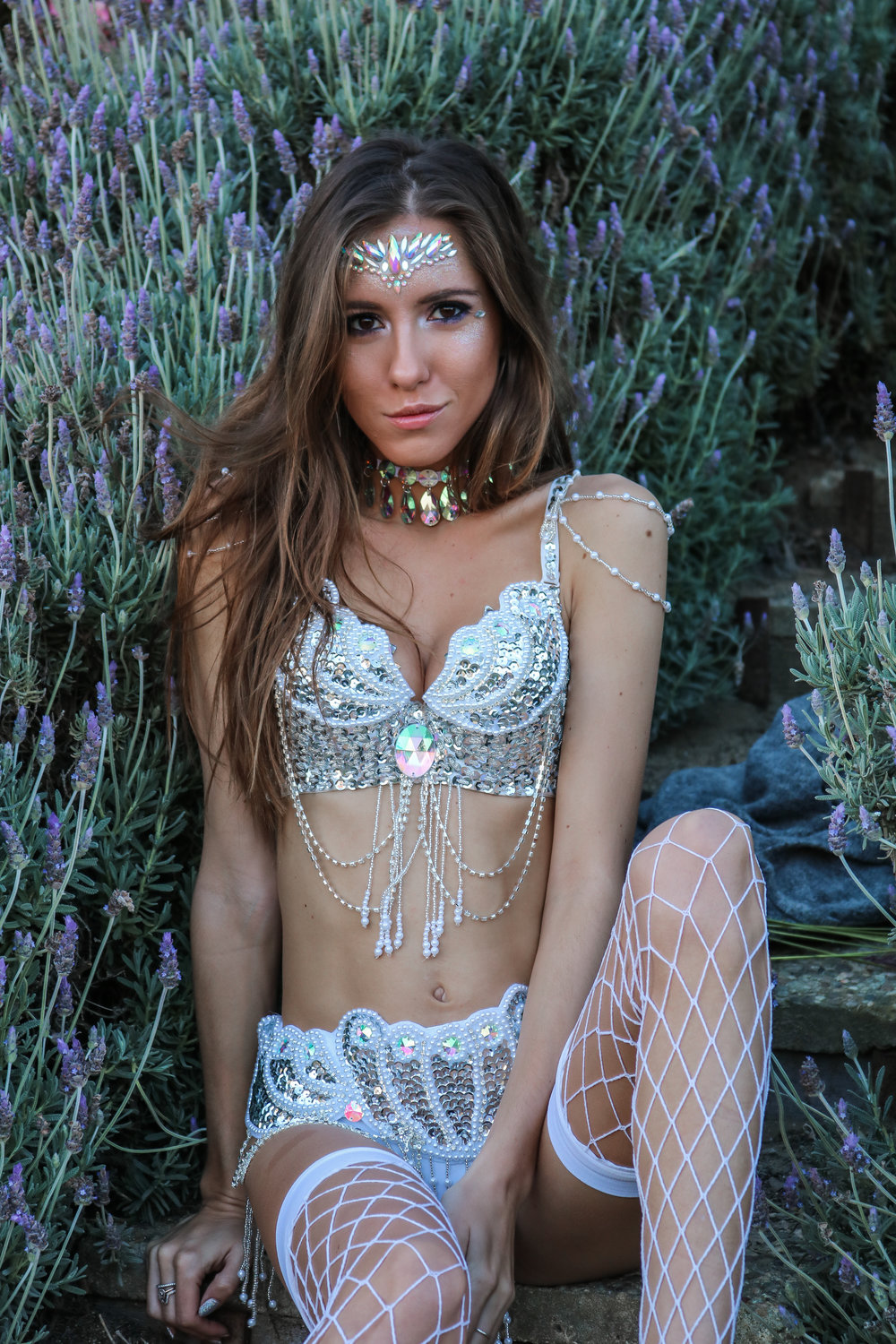 The Hungarian Brunette Sparkle overload, carnival inspired silver festival outfit. Rave bra and belly dancing belt
