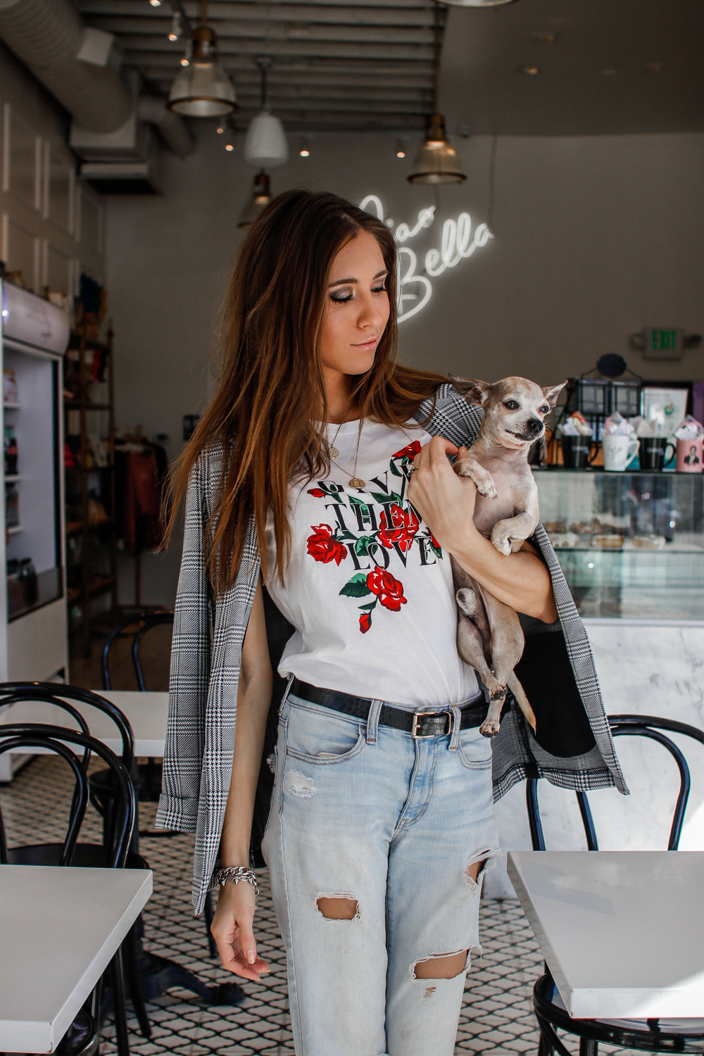 The Hungarian Brunette ootd casual in a plaid blazer and graphic tee + carrera cafe review