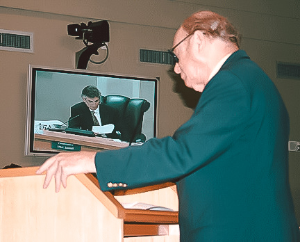 Miami City Commission - BHA President Tory Jacobs at podium at Miami City Commission meeting in 2007 while Commissioner Sarnoff presents the Emergency Ordinance, five years in the making, that restricted contractors from blocking streets and sidewalks. Finally a commissioner was in place who responded to neighborhood concerns and didn't bow to developers' every demand.