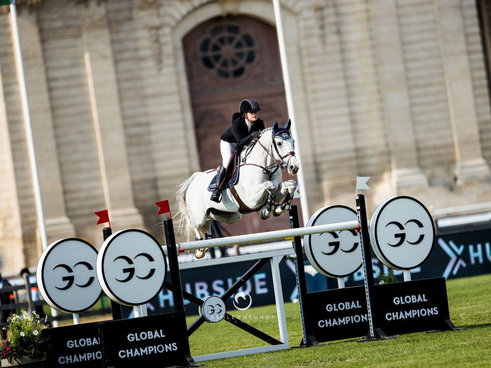 Jenn Gates and Pumped Up Kicks at the 2018 Global Champions Tour of Chantilly. Photo by Ashley Neuhof Photography.