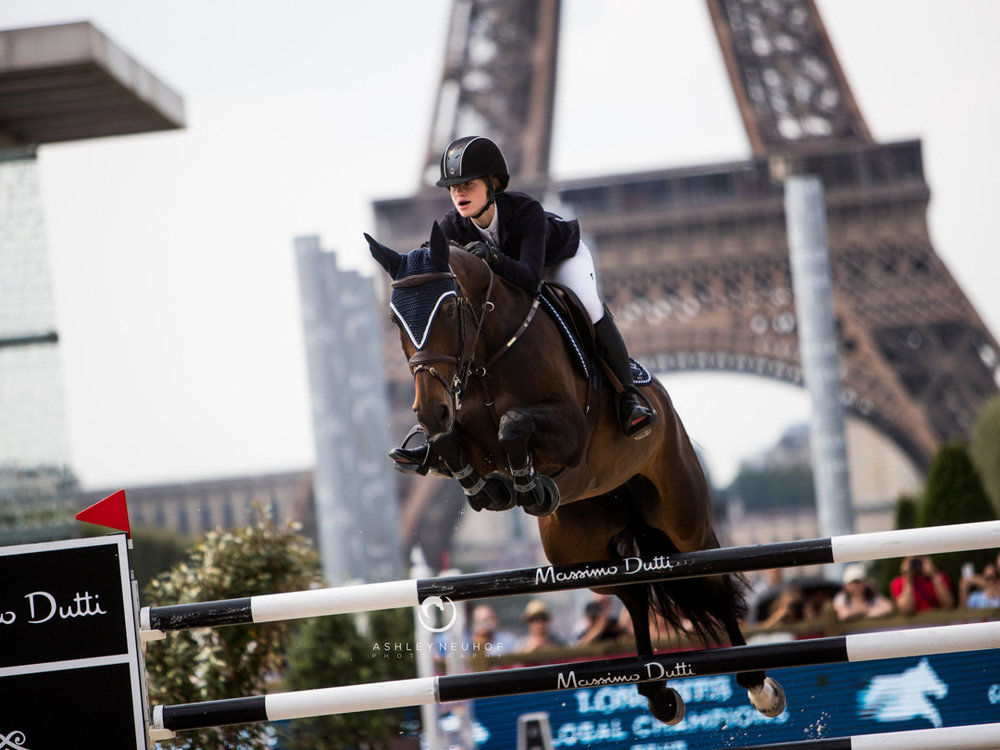 Jenn Gates and Dolinn at the 2018 Global Champions Tour of Paris. Photo by Ashley Neuhof Photography.