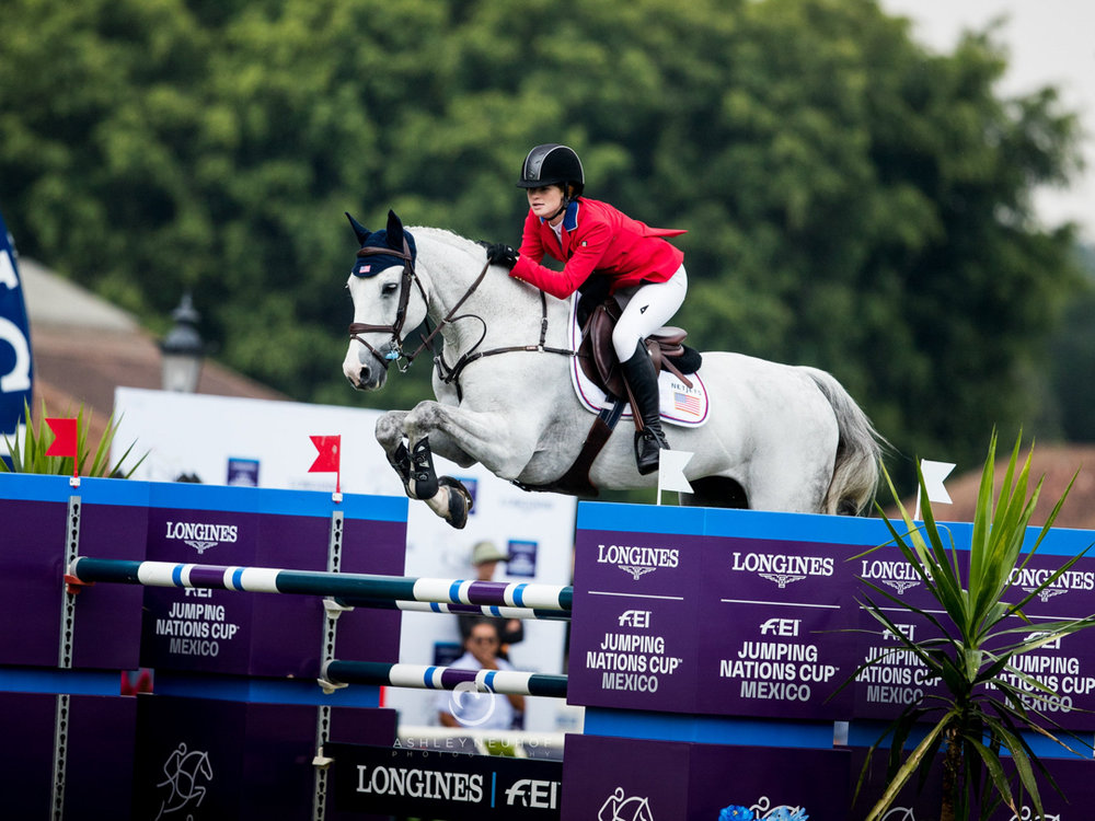 Jenn Gates and Luftikus S at Longines FEI Jumping Nations Cup™ - Coapexpan. Photo by Ashley Neuhof Photography.