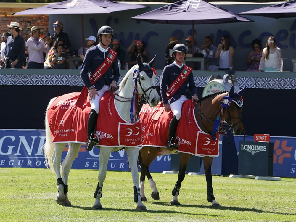 Gregory Wathelet and Coree and Darragh Kenny and Team de Coquerie at the 2018 Global Champions League of Mexico. Photo by Sportfot.