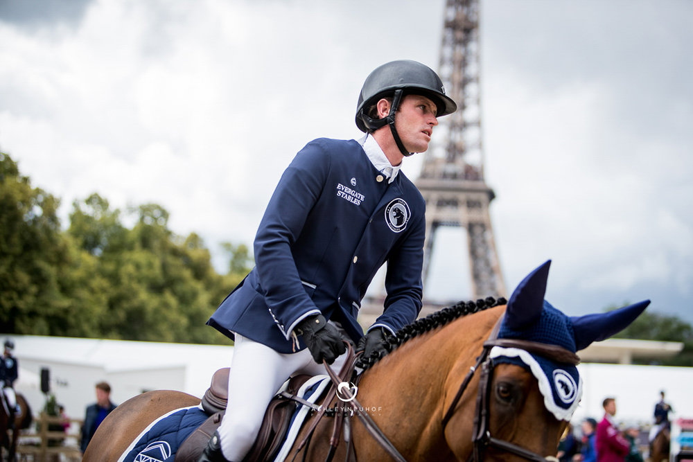Darragh Kenny and Team de Coquerie at the 2017 Global Champions League of Paris. Photo by Ashley Neuhof Photography.
