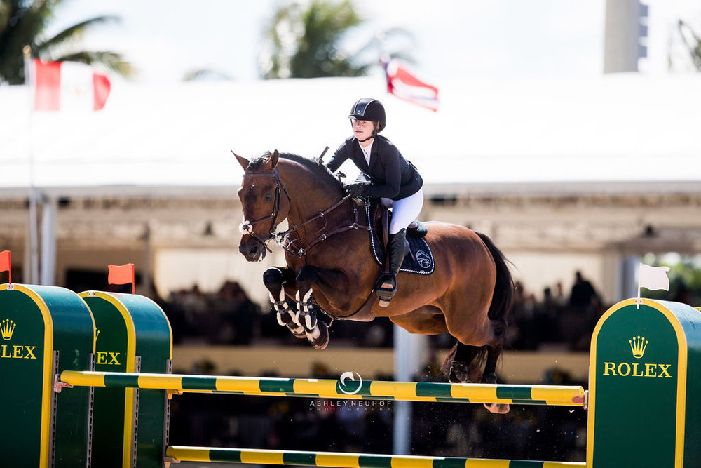 Jenn Gates and Capital Colnardo at Winter Equestrian Festival 2019. Photo by Ashley Neuhof Photography.