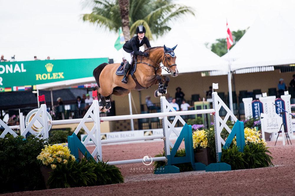 Jenn Gates and Monaco at Winter Equestrian Festival 2019. Photo by Ashley Neuhof Photography.