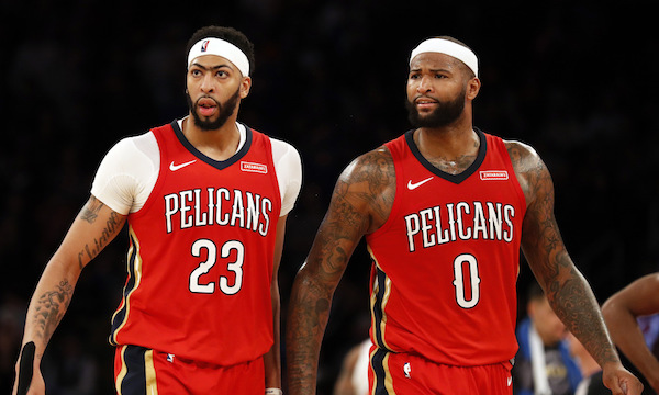 Former teammates Anthony Davis (left) and DeMarcus Cousins (right). Photo Source: For The Win