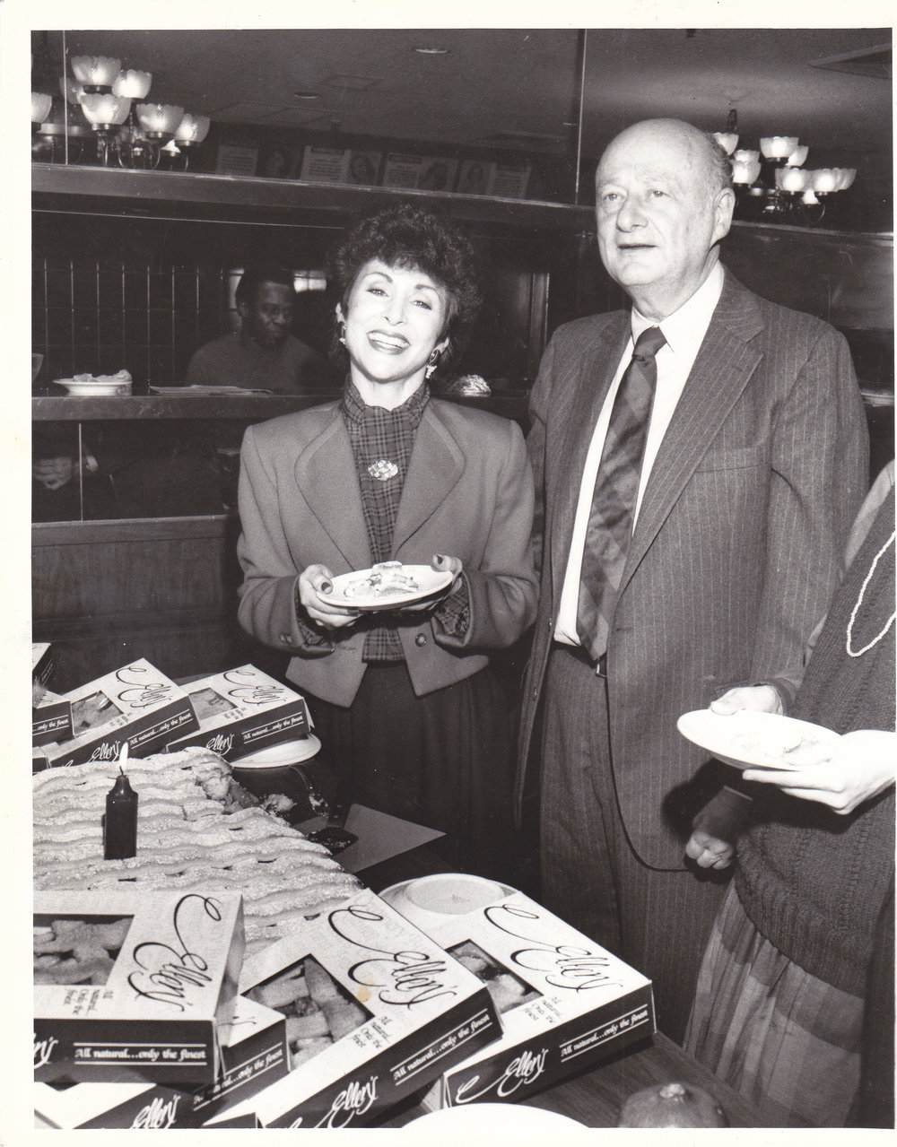 Ellen With Mayor Ed Koch - For many years Ellen would have the Cafe bake as many pies as the birthday being celebrated by beloved NYC Mayor Ed Koch who would donate them to the charity of his choice. The tradition started here 1984 was continued through Mayor David Dinkin's and Mayor Rudolph Giuliani's terms as Mayors.
