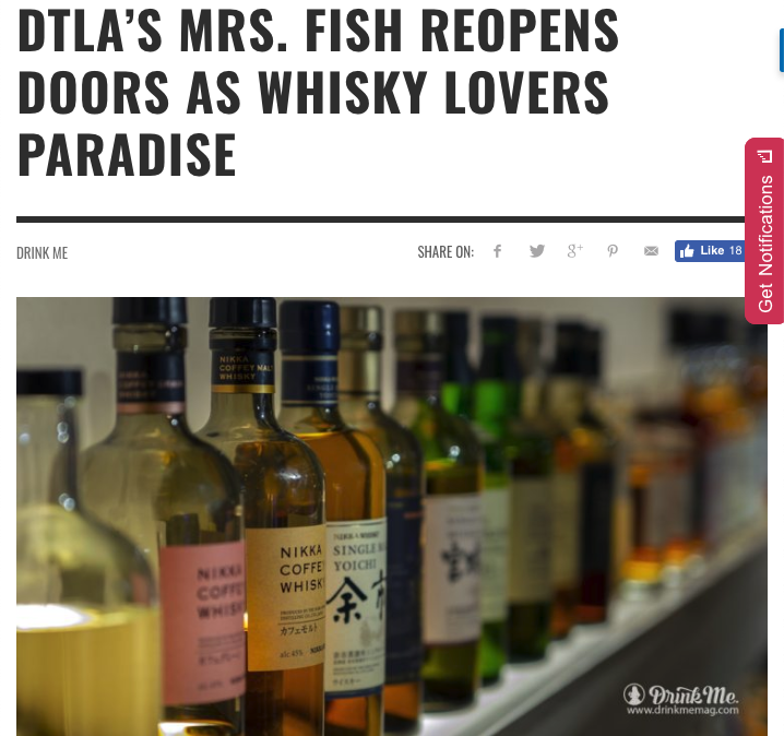 Drink Me Magazine Online DTLA's Mrs. Fish Reopens Doors As Whisky Lover's Paradise -