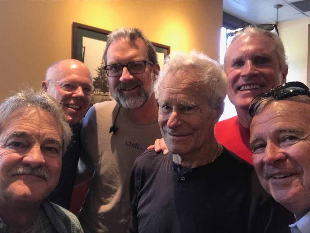 Gary's Personal Men's Group: Sam Pearson Artist, Gary Plep LCSW, Robert Land PsyD, Walter Jessen PhD (Octobert 1936- October 2018)), Beem Wilder PhD, Patrick Purcell MFT, Barry Hayes PhD (below).