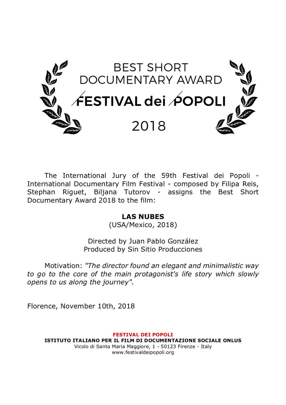 Best Short Documentary Award to LAS NUBES.jpg