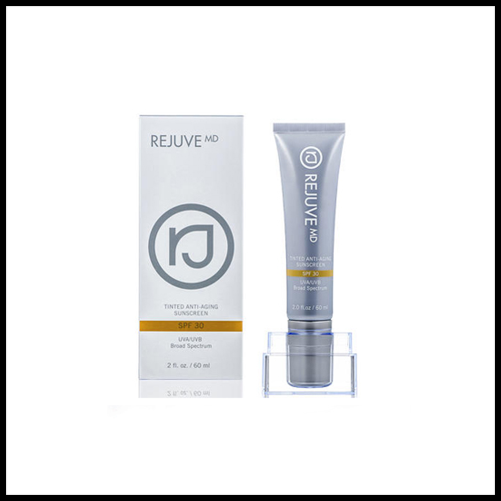 REJUVE MD® ANTI-AGING TINTED SUNSCREEN - The best way to prevent skin's aging is to stop the number one cause of skin damage; sun exposure. Rejuve MD Tinted Anti-Aging Sunscreen is an innovative multi-function sun defense that blocks the damaging UVA and UVB sun rays with full spectrum Zinc Oxide, while restoring skin's youthful radiance with powerful botanicals.-SPF 30 Physical Suncblock-Universal Tint for All Skin Tones-Full Spectrum UVA/UVB Protection-Hypoallergenic and Non-Comedogenic-Blocks Environmental Toxins