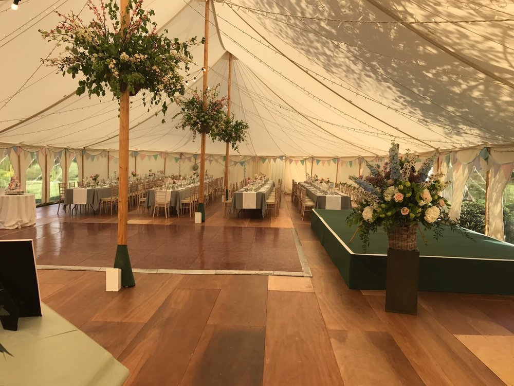 Petal Edged Marquee with our bespoke polished wooden floor