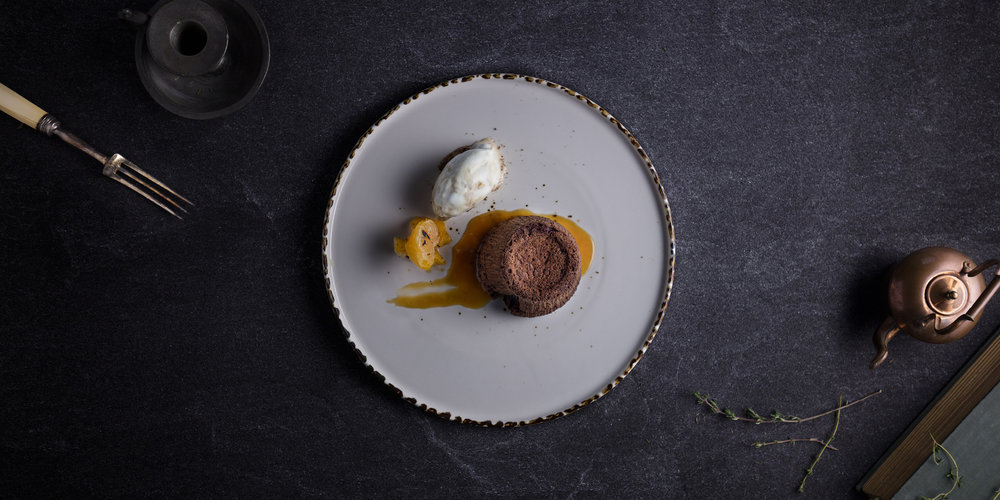 The Grahamston I Hot Chocolate Fondant served with salted caramel, vanilla ice cream and burnt orange
