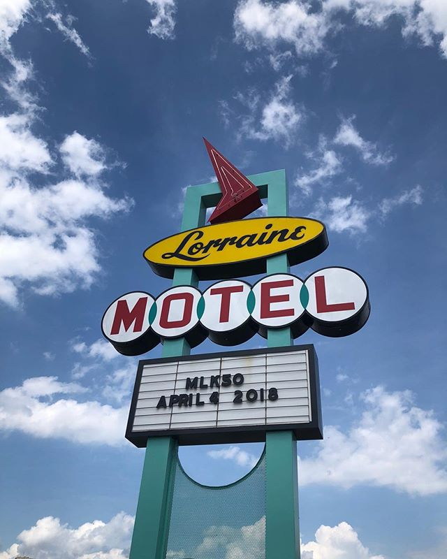 Lorraine Motel, Memphis, 2018 - This isn't just a beautiful retro motel sign. This motel is where Martin Luther King  was shot. It is now the National Civil Rights Museum. RIP MLK 🧡 • • • • • • • • #design #interiordesign #setdesign #retaildesign #architecture #neon #sign #blue #red #yellow #memphis #lorrainemotel #ripmlk #martinlutherking