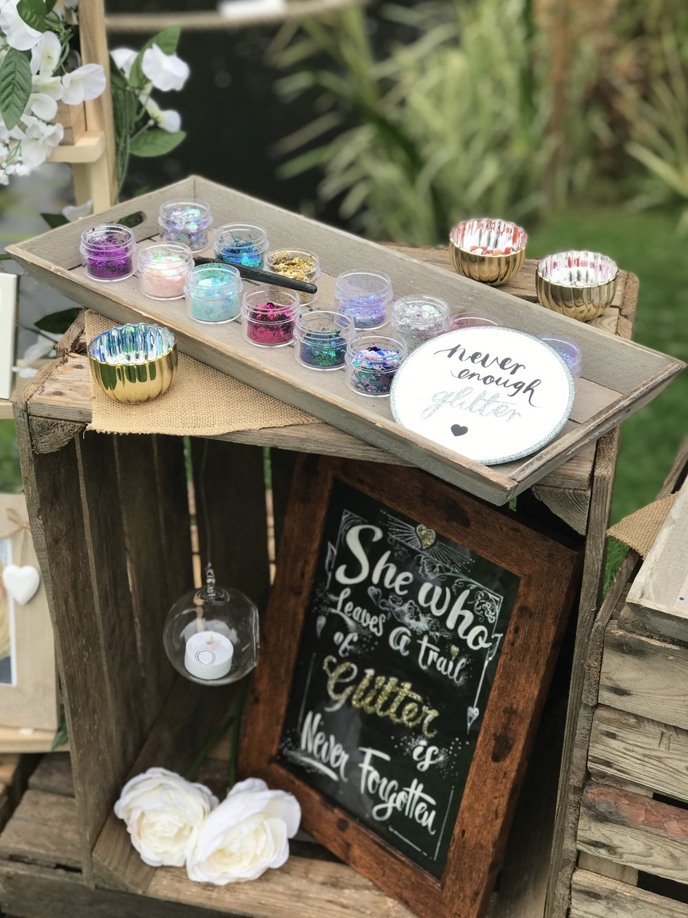 Rustic Wedding Glitter Bar