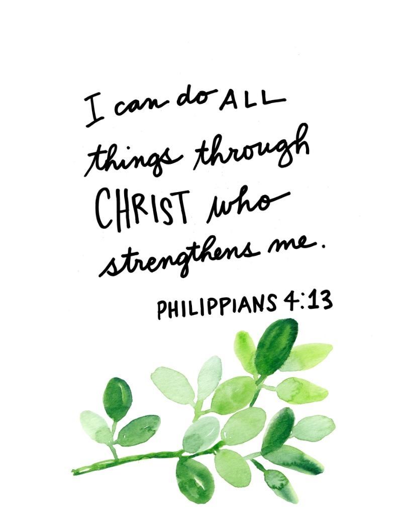 Printable Calligraphy Bible Verse Phillipians 413 Religious Quote
