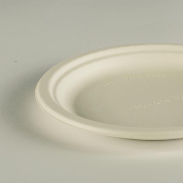 Plato redondo blanco de bagazo 7in (17,5cm).