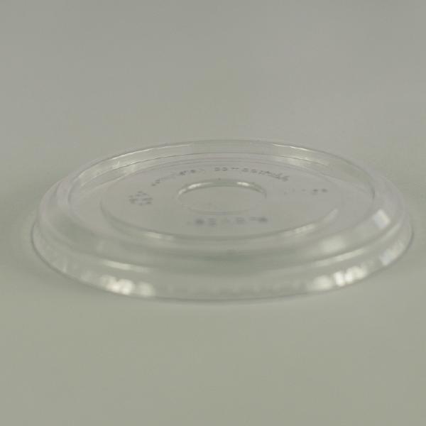 Tapa plana transparente de PLA para alimentos frios, encaja en recipientes de 12 a 32oz (350 a 950ml).