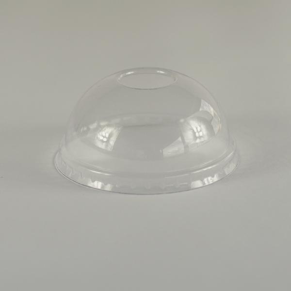 Tapa cúpula transparente de PLA para almientos fríos, encaja en recipientes de 6 a 10oz (180 a 300ml).