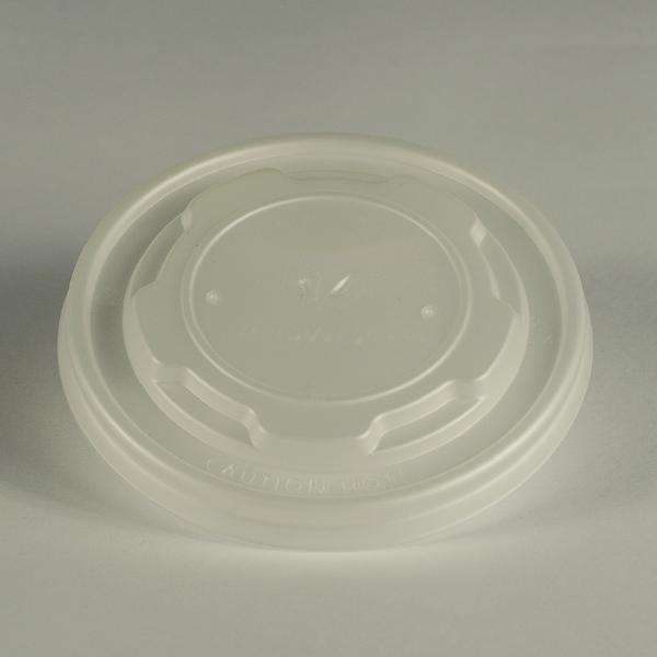 Tapa plana y clara de CPLA para alimentos calientes, encaja en recipientes de 6 a 10oz (180 a 300ml).