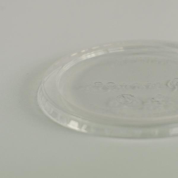 Tapa plana, redonda y transparente de PLA, encaja en contenedores de 8 a 32oz (240 a 950ml).