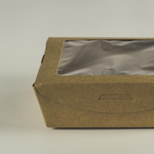 Caja de cartón kraft mediana con visor transparente de PLA para pasta 22oz (650ml).