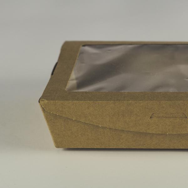 Caja de cartón kraft grande con visor transparente de PLA para ensalada 32oz (950ml).