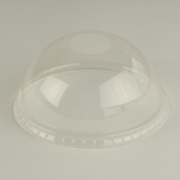 Tapa cúpula transparente de PLA 96mm con ranura para sorbito, encaja en vaso estándar.