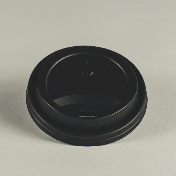 Tapa negra de CPLA para bebidas clientes, encaja en vasos de 8oz (240ml).