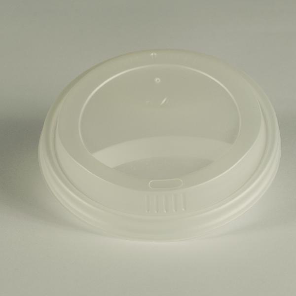Tapa blanca de CPLA para bebidas clientes, encaja en vasos de 12oz (350ml).