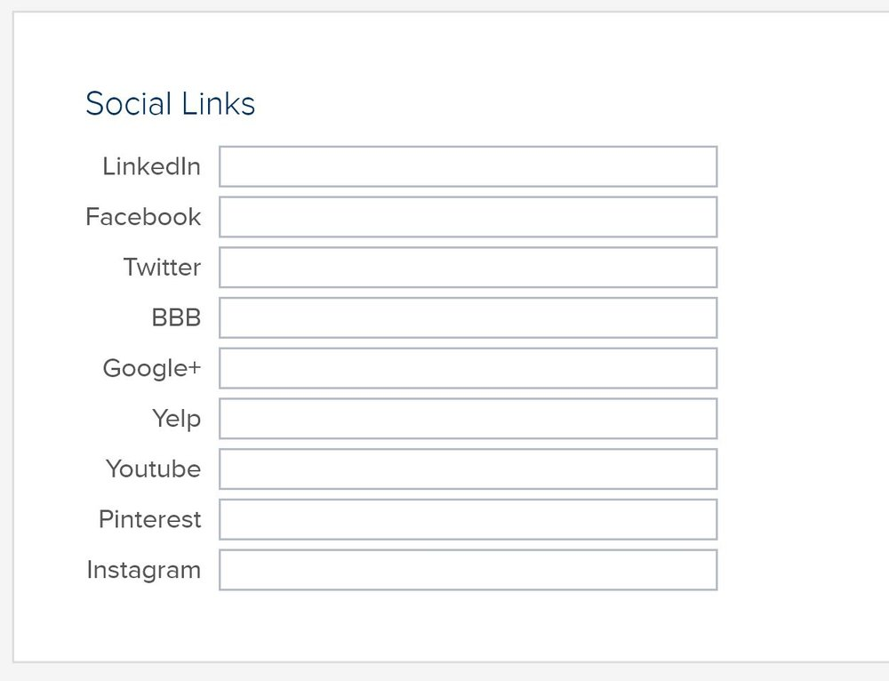 "Link your Social Media - Once logged in, an Acworth Business Association can scroll down the page until they reach the ""Social Links"" Box. This box allows users to add in their company Social Media profiles for contact & sharing purposes."