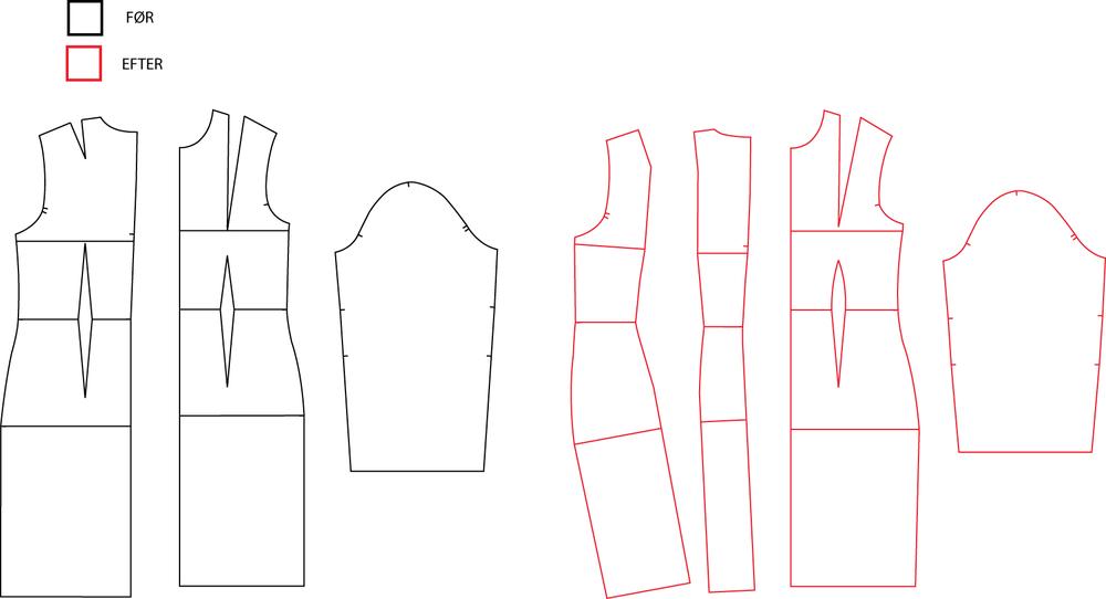 her ses dee mønsterdele keg gik ud fra og så som de er endt op med at se ud efter mine tilretninger