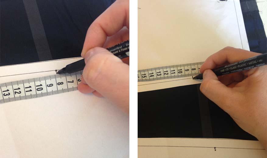 Her måler jeg op til første stribe på mit mønster på alle mønsterdele. jeg laver en markering på mit mønster på selve sylinjen og placere mine mønsterdele efter den   English summary:    This is my 10 advice for how to sew in check
