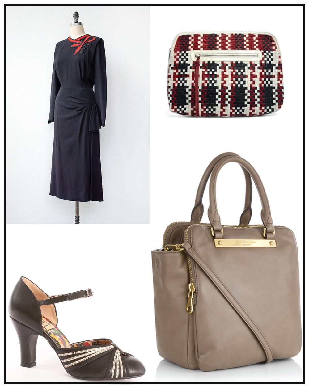 øverst fra venstre:  kjole fra adoredvintage.com  taske fra ASOS.com  sko fra Miss L Fire  taske fra marc jarcobs