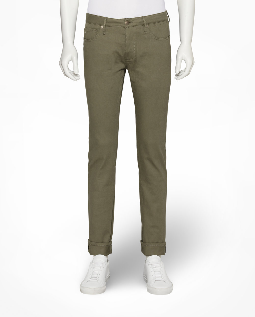 OLIVE STRETCH TWILL COTTON