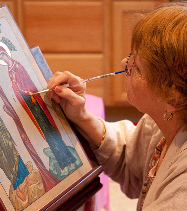 "Celeste Lauritsen - IconographyCeleste studied art at Barry University in Miami and has been an artist and teacher since the 1970′s. She found herself creating mostly Biblical or spiritual art and received a master's degree in Theology from the Washington Theological Union. She currently is a full-time artist and iconographer after retiring from art and religious education for over 25 years. She also teaches icon workshops and has developed iconography retreats. She was honored by being awarded the first annual Ade Bethune Award for Excellence in the Sacred Arts by the Washington Theological Union. Celeste began the Arts for Theology program at the Union while she was a student there and continued working for the Theological Union as the Theology and Arts Coordinator. She is currently a member of the Fine Arts Council at the Lutheran Theological Seminary in Gettysburg, a member of CIVA (Christians in the Visual Arts) and the Adams County Arts Council.""Iconography, Byzantine and Coptic, can be rather structured and helps to bring the scattered parts of my artistic nature into a prayerful whole.""I love color and am often influenced by sacred imagery of the past."
