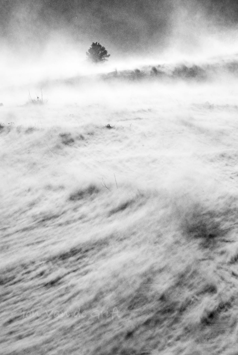 Monochrome photograph of snow in a wind storm in winter.