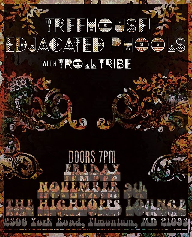 Can't wait for the very first official show at @hightoppslounge this Friday night, November 9th! We'll be joining @treehousetheband and @trolltribemusic for a night of great music! Doors at 7pm.