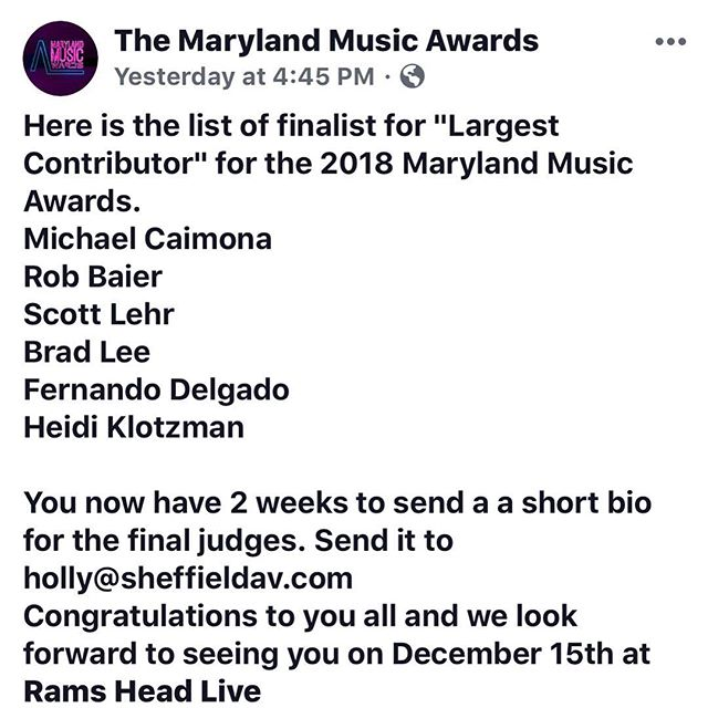 🔥our boy and manager @fjdelgado27 has made it as a finalist for Largest Contributor in the 2018 @maryland_music_awards best of luck brotha much love