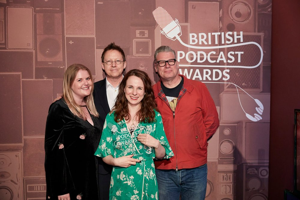 Cariad Lloyd, centre, with Griefcast producer Kate Holland, left, and Listeners' Choice award winners Simon Mayo and Mark Kermode at the British podcast awards, May 2018. Photograph: Paul Cochrane.jpg