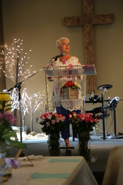 Deborah McInnes sharing at Mother's Day